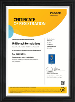 UNIBIOTECH FORMULATIONS PCD PHARMA PCD PHARMA FRANCHISE PCD PHARMA COMPANY ISO REGISTRATION CERTIFICATE